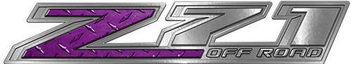 Chevy Z71 Off Road Decals in Purple Diamond Plate
