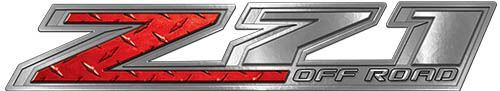 Chevy Z71 Off Road Decals in Red Diamond Plate