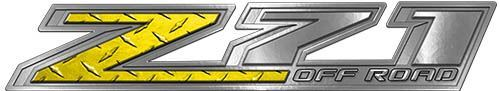 Chevy Z71 Off Road Decals in Yellow Diamond Plate