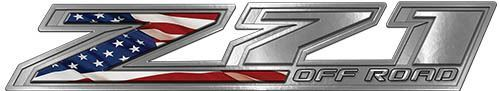 Chevy Z71 Off Road Decals with American Flag
