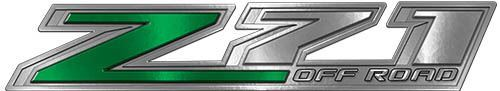 Chevy Z71 Off Road Decals in Green