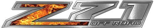 Chevy Z71 Off Road Decals in Inferno Flames