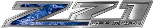 Chevy Z71 Off Road Decals in Blue Inferno Flames