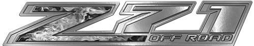 Chevy Z71 Off Road Decals in Gray Inferno Flames