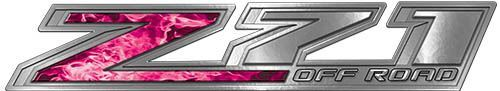Chevy Z71 Off Road Decals in Pink Inferno Flames