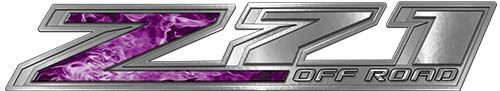 Chevy Z71 Off Road Decals in Purple Inferno Flames