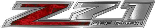 Chevy Z71 Off Road Decals in Red Inferno Flames