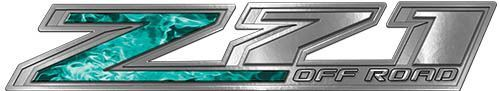 Chevy Z71 Off Road Decals in Teal Inferno Flames