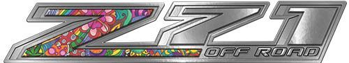 Chevy Z71 Off Road Decals in Psychedelic Art