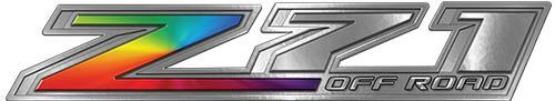 Chevy Z71 Off Road Decals with Rainbow Colors
