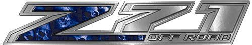 Chevy Z71 Off Road Decals with Blue Skulls