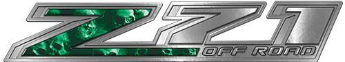 Chevy Z71 Off Road Decals with Green Skulls