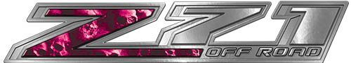 Chevy Z71 Off Road Decals with Pink Skulls