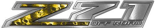 Chevy Z71 Off Road Decals with Yellow Skulls