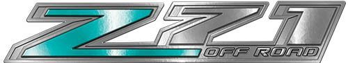 Chevy Z71 Off Road Decals in Teal