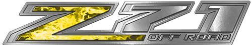 Chevy Z71 Off Road Decals in Yellow Inferno Flames