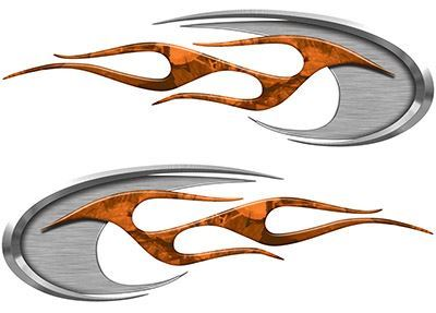 Motorcycle Tank Decals in Orange Camouflage