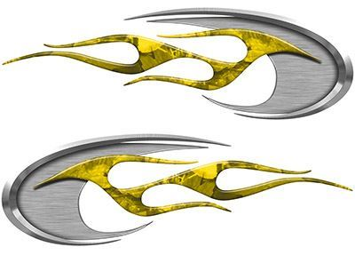 Motorcycle Tank Decals in Yellow Camouflage