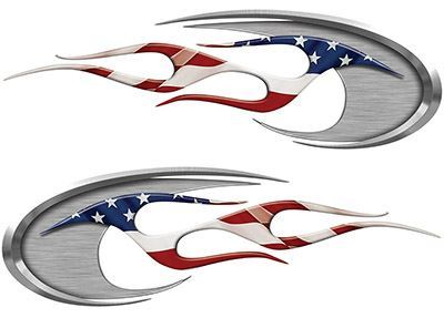 Motorcycle Tank Decals with American Flag