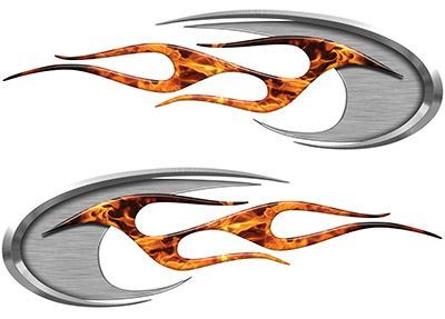 Motorcycle Tank Decals in Inferno Flames