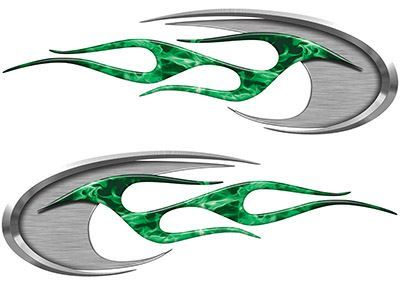 Motorcycle Tank Decals in Green Inferno Flames