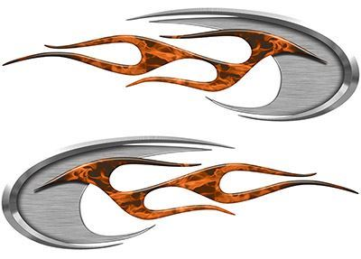Motorcycle Tank Decals in Orange Inferno Flames