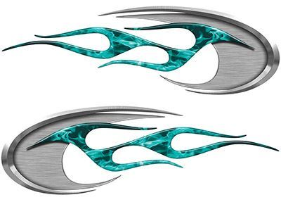 Motorcycle Tank Decals in Teal Inferno Flames