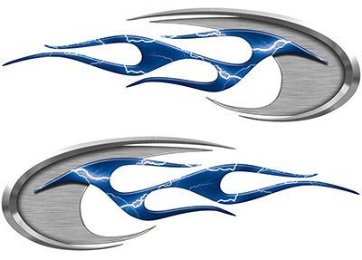 Motorcycle Tank Decals in Blue Lightning Strike