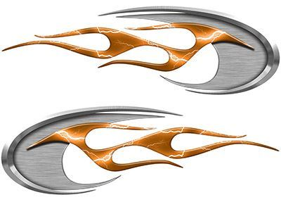 Motorcycle Tank Decals in Orange Lightning Strike
