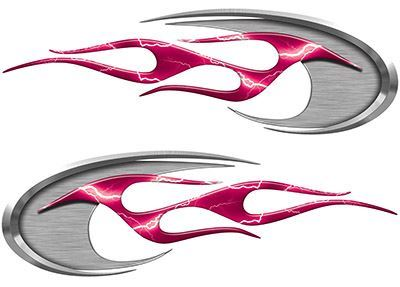 Motorcycle Tank Decals in Pink Lightning Strike