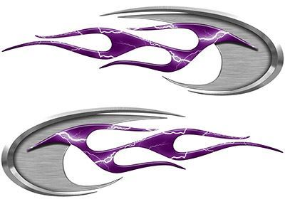 Motorcycle Tank Decals in Purple Lightning Strike