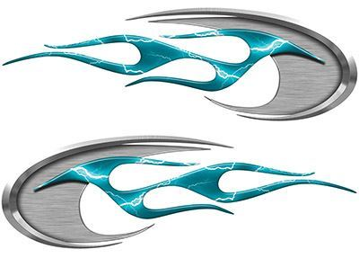 Motorcycle Tank Decals in Teal Lightning Strike