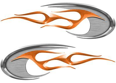 Motorcycle Tank Decals in Orange