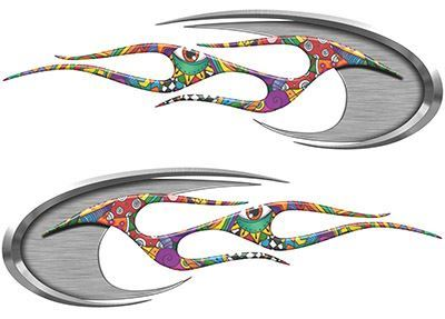 Motorcycle Tank Decals in Psychedelic Art