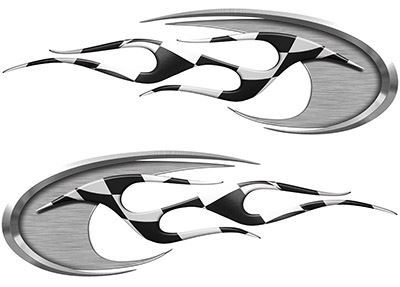 Motorcycle Tank Decals with Racing Flag