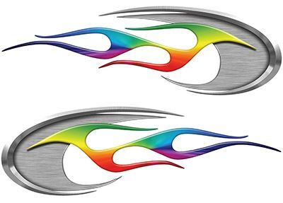 Motorcycle Tank Decals with Rainbow Colors