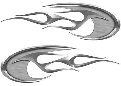 Motorcycle Tank Decals in Silver