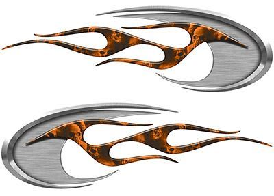 Motorcycle Tank Decals with Orange Skulls