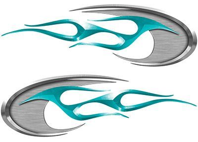 Motorcycle Tank Decals in Teal