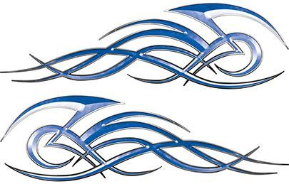 Tribal Flame Decals for Motorcycle Tanks, Cars and Trucks in Blue