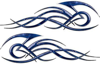 Tribal Flame Decals for Motorcycle Tanks, Cars and Trucks in Blue Camouflage