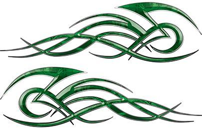 Tribal Flame Decals for Motorcycle Tanks, Cars and Trucks in Green Camouflage
