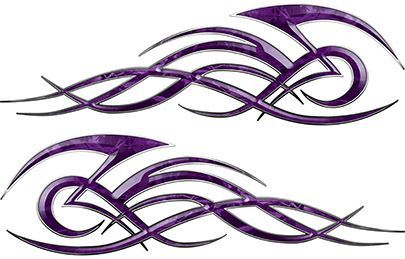 Tribal Flame Decals for Motorcycle Tanks, Cars and Trucks in Purple Camouflage