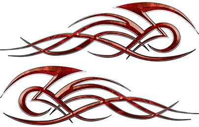 Tribal Flame Decals for Motorcycle Tanks, Cars and Trucks in Red Camouflage