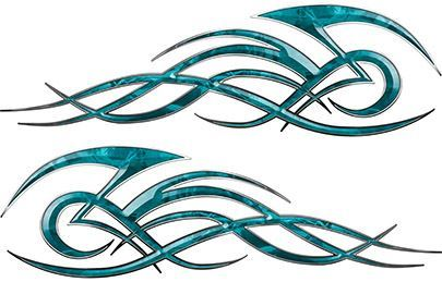 Tribal Flame Decals for Motorcycle Tanks, Cars and Trucks in Teal Camouflage