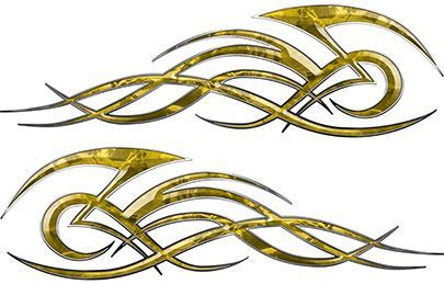 Tribal Flame Decals for Motorcycle Tanks, Cars and Trucks in Yellow Camouflage