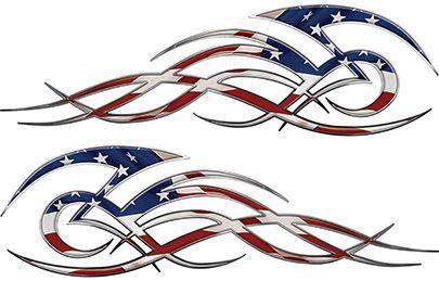 Tribal Flame Decals for Motorcycle Tanks, Cars and Trucks with American Flag