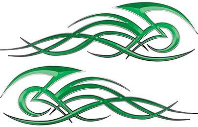 Tribal Flame Decals for Motorcycle Tanks, Cars and Trucks in Green