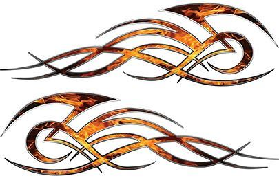 Tribal Flame Decals for Motorcycle Tanks, Cars and Trucks in Inferno Flames