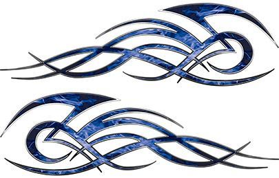 Tribal Flame Decals for Motorcycle Tanks, Cars and Trucks in Blue Inferno Flames